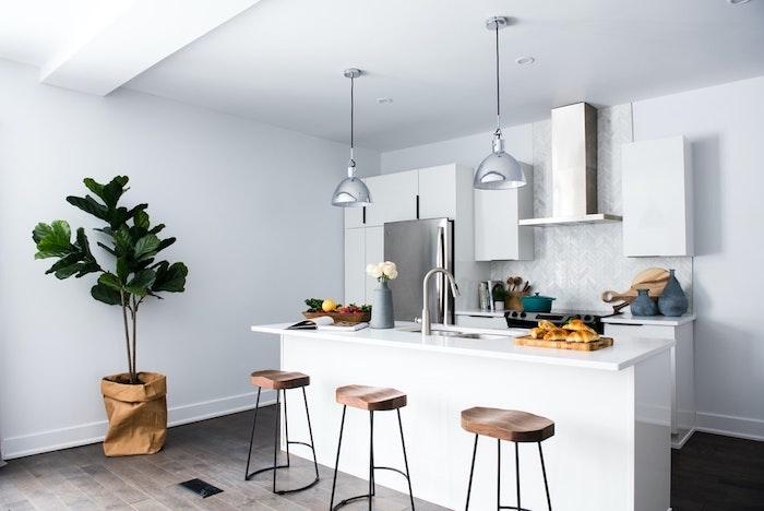 Plante verte haute dans la cuisine blanche, simple association de couleur déco scandinave, tendance cuisine 2020 inspiration déco