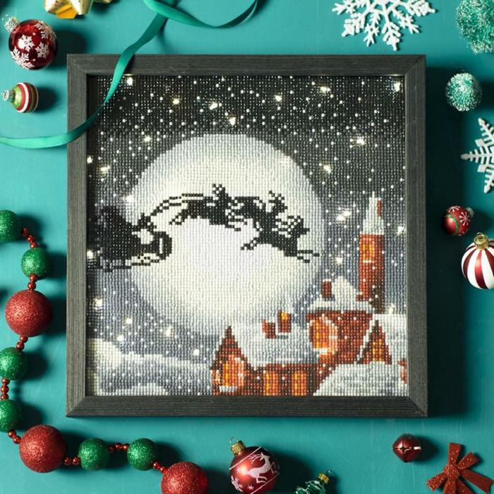 Noel tableau de la lune en nuit etoilee et pere noel activité créative, broderie diamant, creation diamant broderie