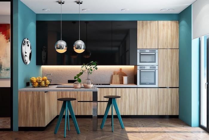 Bleu aigue-marine cuisine bois couleur de peinture pour cuisine, la meilleure idée peinture cuisine moderne
