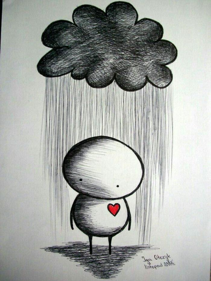 Nuage en dessus de caractere triste, visage dessin noir et blanc triste, dessin facile a reproduire simplicité
