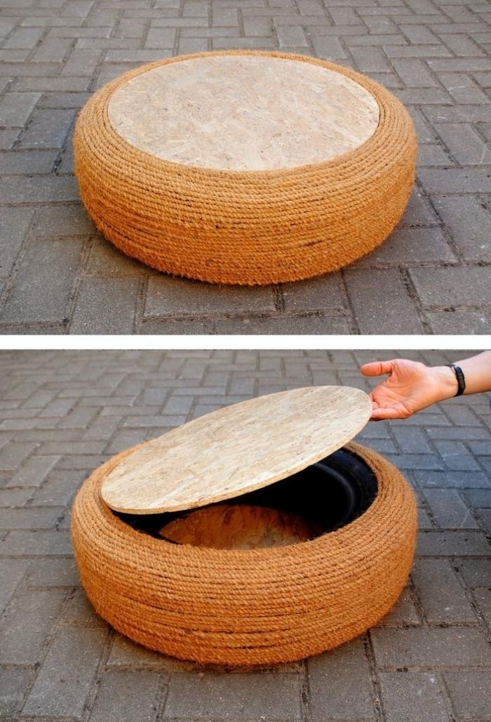 comment faire une déco pneu recyclé facile, modèle de tabouret en pneu décoré de corde avec couvercle pour rangement