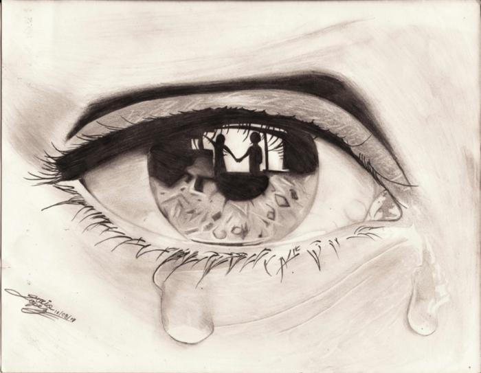 Oeil qui voit le passé dessin facile a faire pour debutant, apprendre le dessin facile tristesse fille