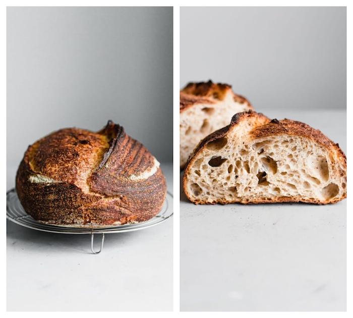 faire son pain au levain chez sou, recette avec de la farine pour pain et farine complete avec levain maison