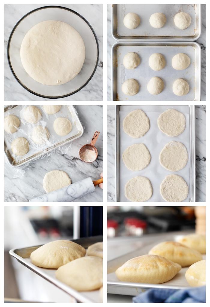 pita pain recette comment faire étape par étape du pain plat au four, pain arabe a faire soi meme