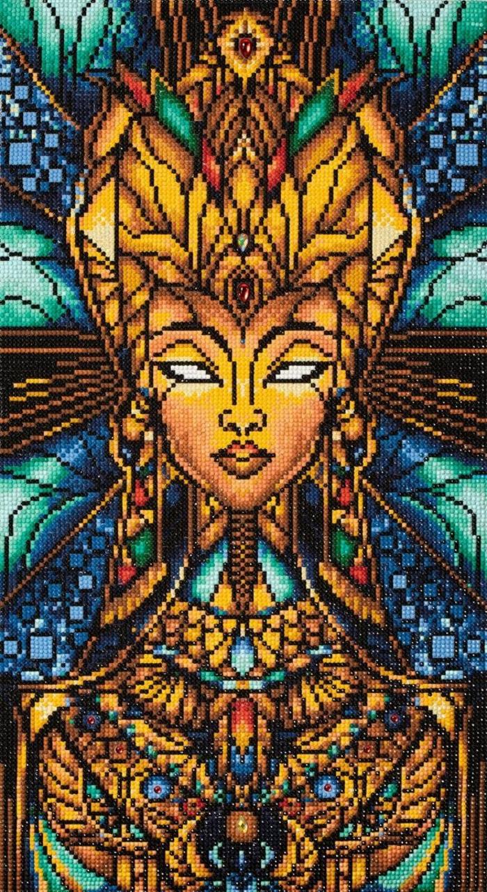 Dessin original egypte dieu faire un canevas diamant, perle diamant a coller loisir créatif