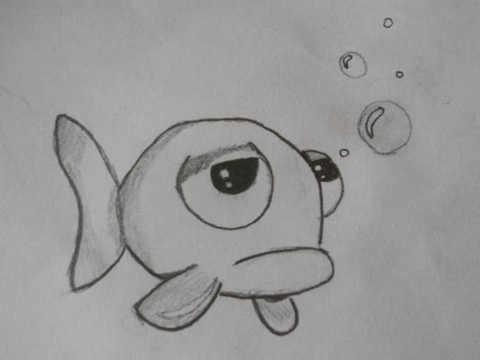 Poisson déprimé dessin triste, dessin noir et blanc triste, expression art de sentiments sous l'eau