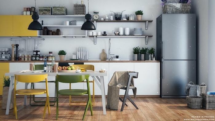 Jaune, blanc et gris cuisine ouverte, idée asociation couleur, quelle couleur repeindre sa cuisine jolie