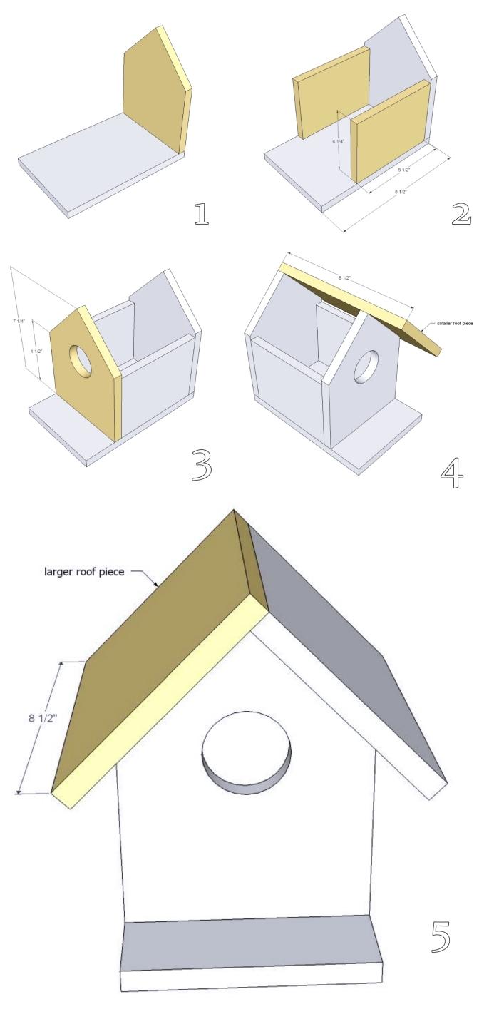 assemblage et construction de planches de bois pour faire une maison oiseaux, exemple de plan nichoir rouge gorge facile à suivre