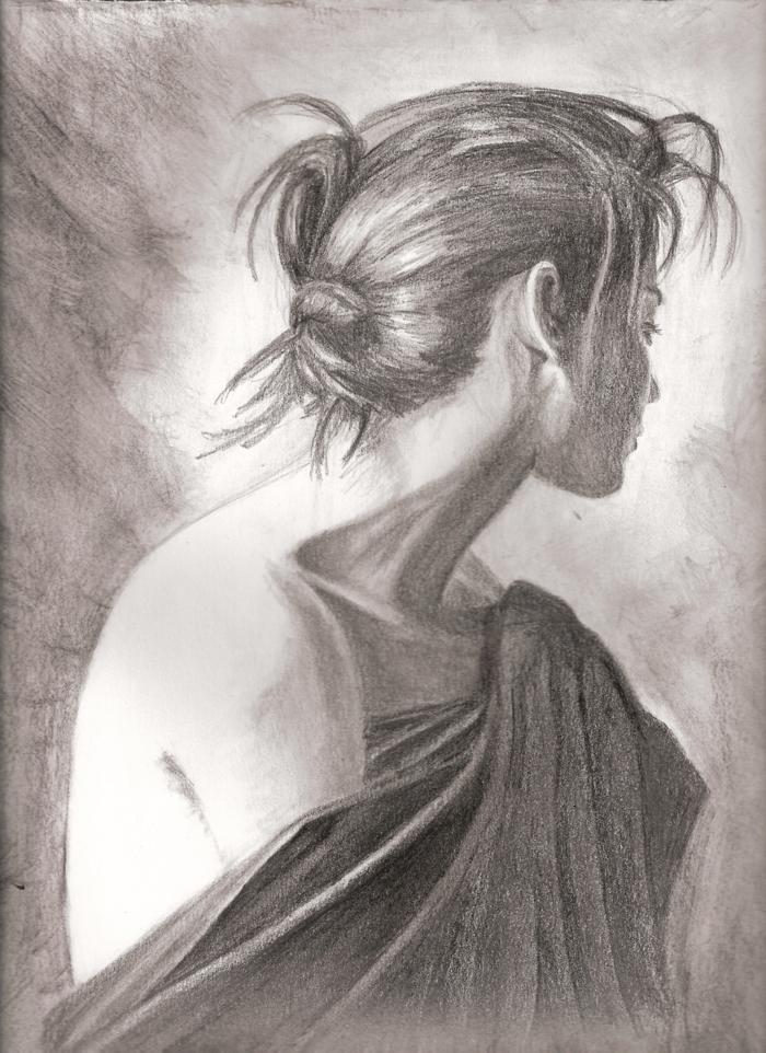 Cheveux en chignon femme triste dessin à reproduire soi-même, originale idée dessin femme triste