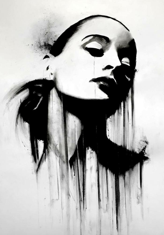 Visage de femme qui pleure dessin triste amour, dessin a dessiner, la beauté du spectre des émotions