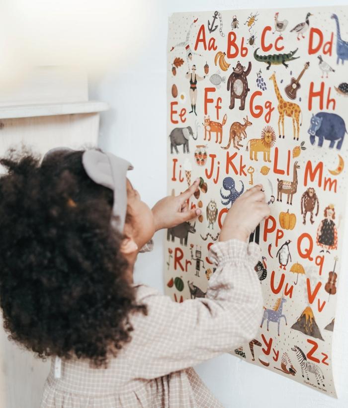 modèle d'affiche originale avec dessins d'animaux et lettres alphabets pour personnaliser les murs dans une chambre enfant
