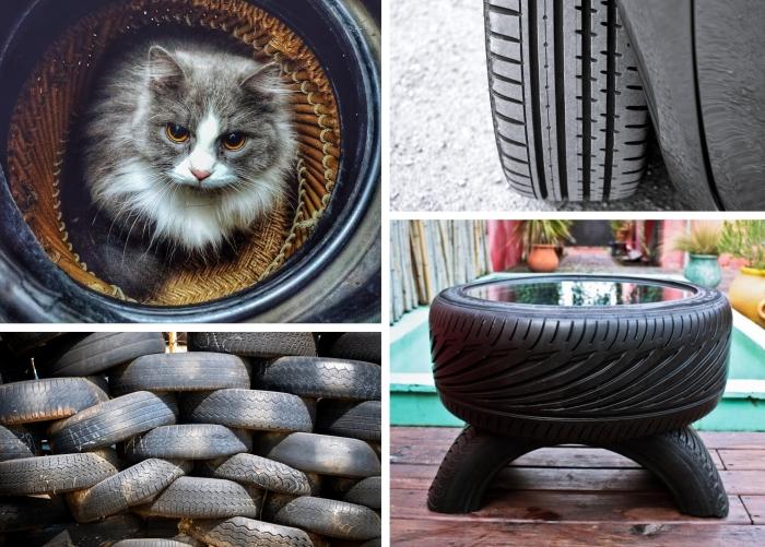 idées créatives de recyclage pneu facile et économique, que faire avec des vieux pneus, modèle de table en pneu recyclé