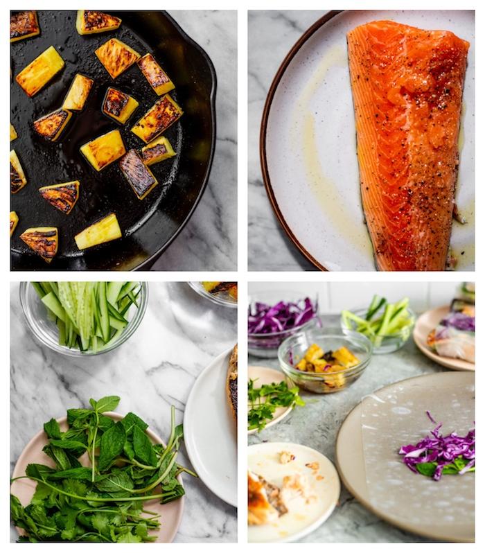 rouleaux de printemps recette simple avec mangue grillé, saumon, salade, concombre, idée apero dinatoire light