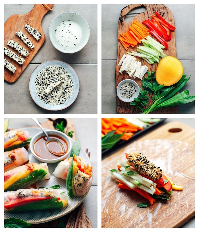 recette wrap apero vegan, rouleaux de printemps recette avec tofu au sésame et crudités dont carottes, poivrons, concombres, menthe