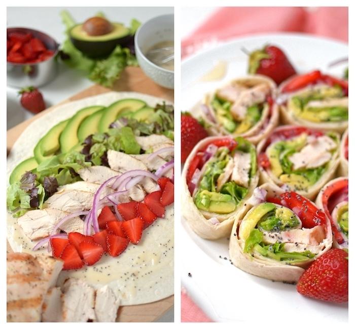 idée de roulé de tortilla avec des fraises, avocat, oignon, laitue et salade verte, entrées froides faciles