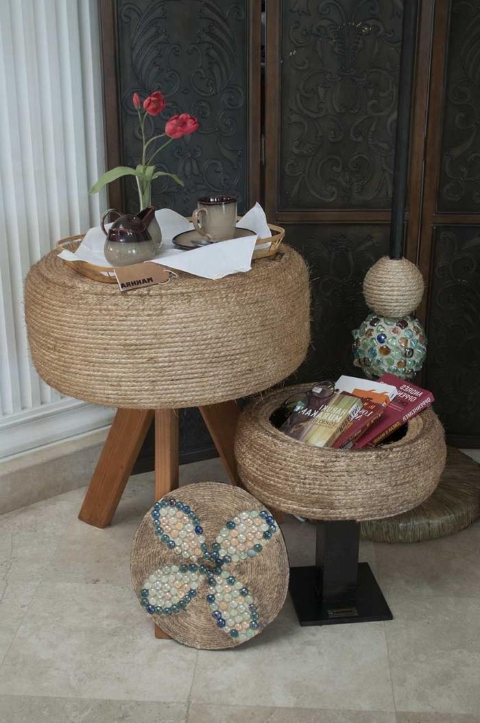 meubles originaux à faire soi-même avec objets recyclés, idée de décoration jardin avec pneu, diy petite table de café