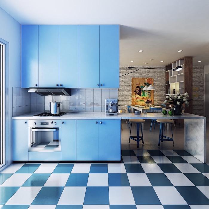 Bleu et blanc couleur peinture cuisine, couleur qui vont bien ensemble mur bicolore moderne