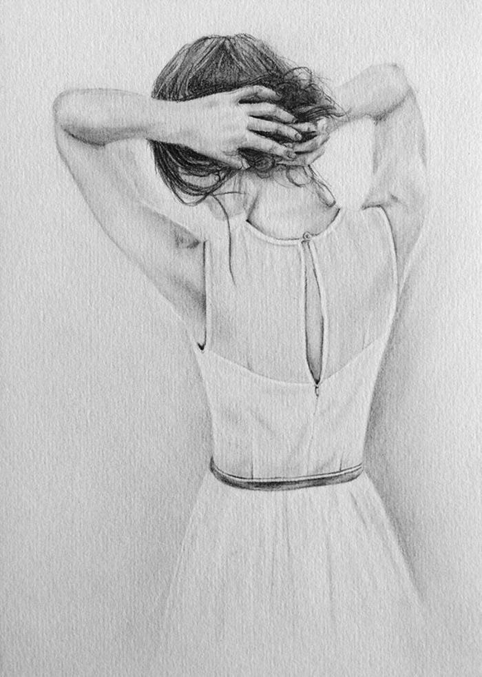 Dessiner un personnage triste à dessiner pour se sentir mieux, comment faire un dessin femme dos cheveux en chignon