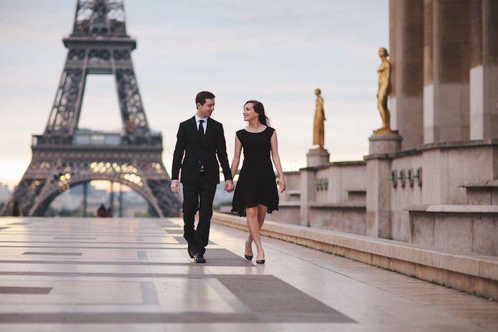 robe noire courte elegante tenue femme chic robe longue été idée tenue robe d été chic couple engagement