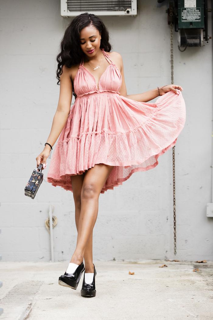 rose robe de poupée robe d été femme originale les plus belles tenues du monde chaussures a talon