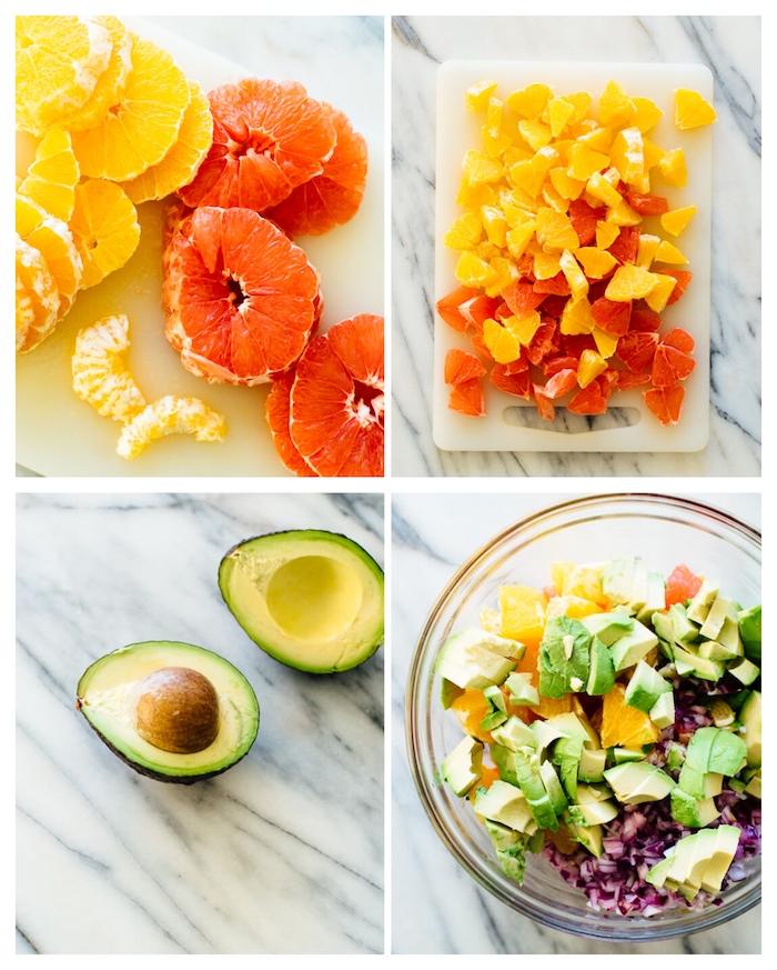 idée de salade avocat pamplemousse et orange avec de l oignon vert, recette avec de l avocat