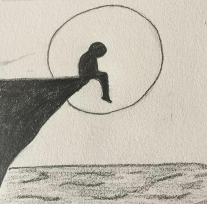 Homme déprimé assis sur le bord d'un rocher dessin triste facile a reproduire, dessins faciles a faire pour debutants