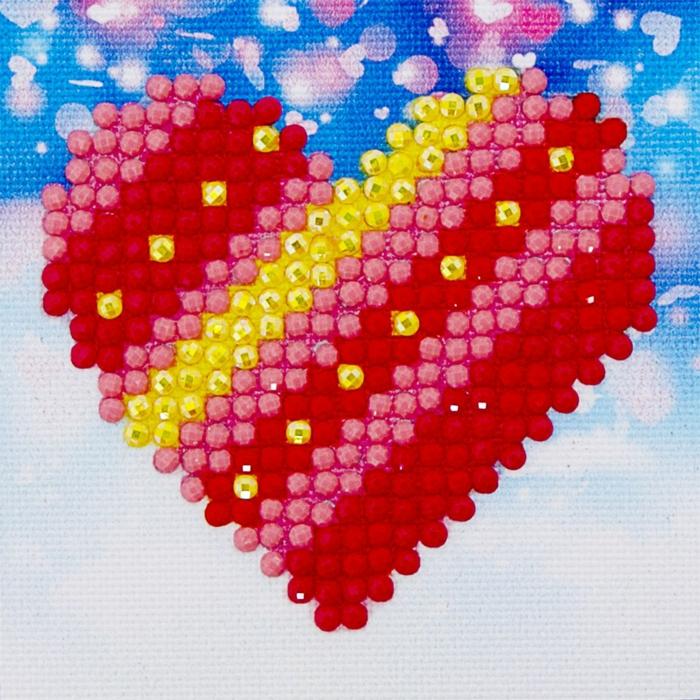 Coeur en diamants tableau perle diamant, modele broderie tendance art moderne pour le donner comme cadeau