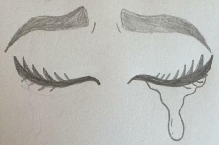 Yeux qui pleurent idée de dessin, originale idée pour un dessin a dessiner en retracant une image