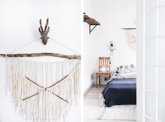 style minimaliste décor bohème moderne chambre à coucher chaise bois diy tete de lit bois flotté corde cotton macramé tapis franges