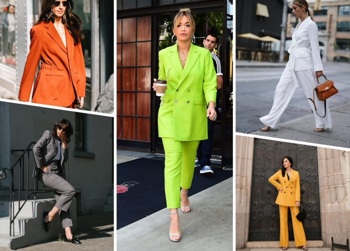 modèle ensemble tailleur femme de couleur flashy, tenue femme classe en costume blanc avec sac à main marron et chaussures beige