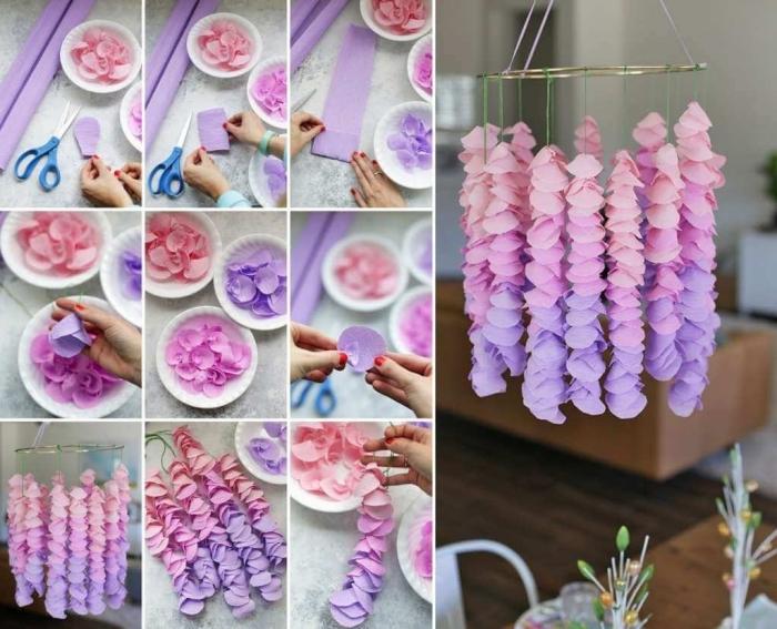 activité manuelle printemps, bricolage facile avec papier scrapbooking, idée comment faire un chandelier original avec pétales de fleurs en papier
