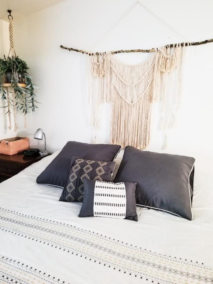 suspension macramé de style bohème chic décoration petite chambre à coucher boho moderne macramé pour plantes lampe de chevet argent