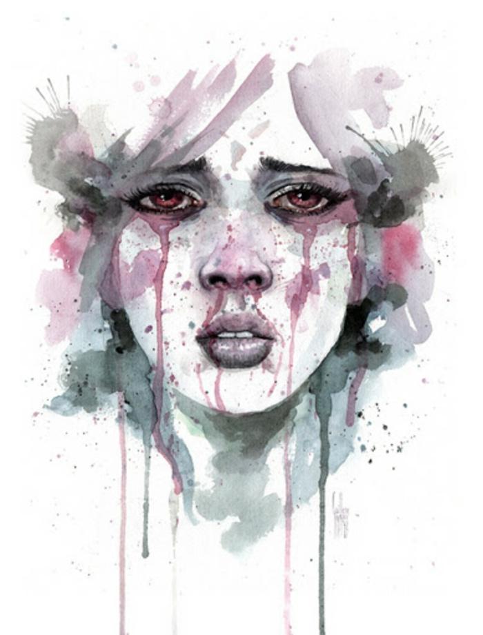 Beau dessin coloré visage dessin facile a faire pour debutant,dessiner la tristesse expression sentiment