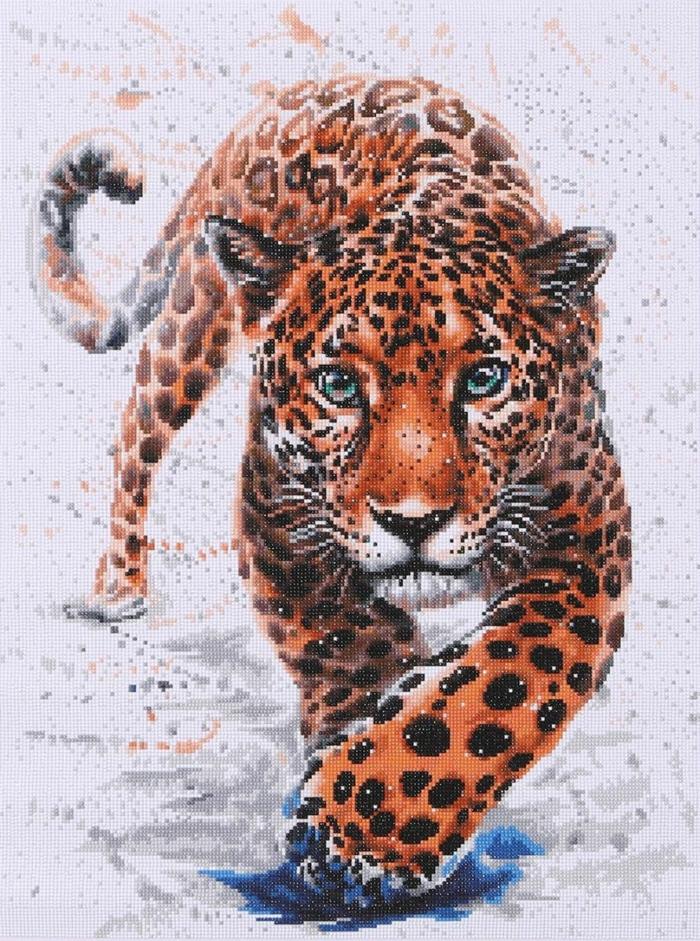Léopard modele broderie, idée activité manuelle creation diamant animaux beau dessin broderie