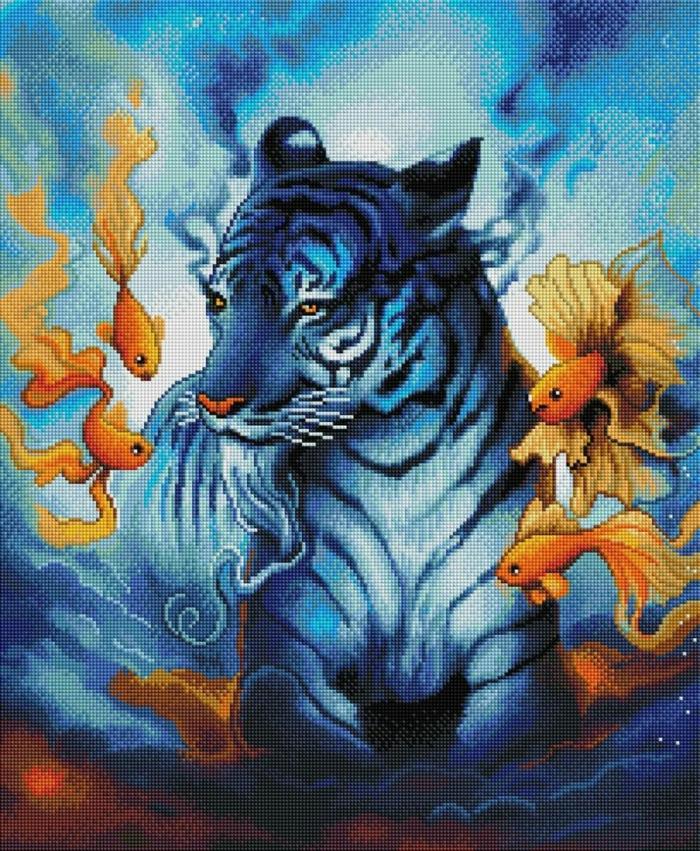 Tigre mythique en bleu avec poissons autour, originale idée activité manuelle adulte, beau tableau a faire