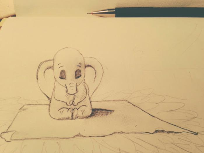 Éléphant sur tapis apprendre à dessiner, surmonter la dépression art thérapie simple dessins