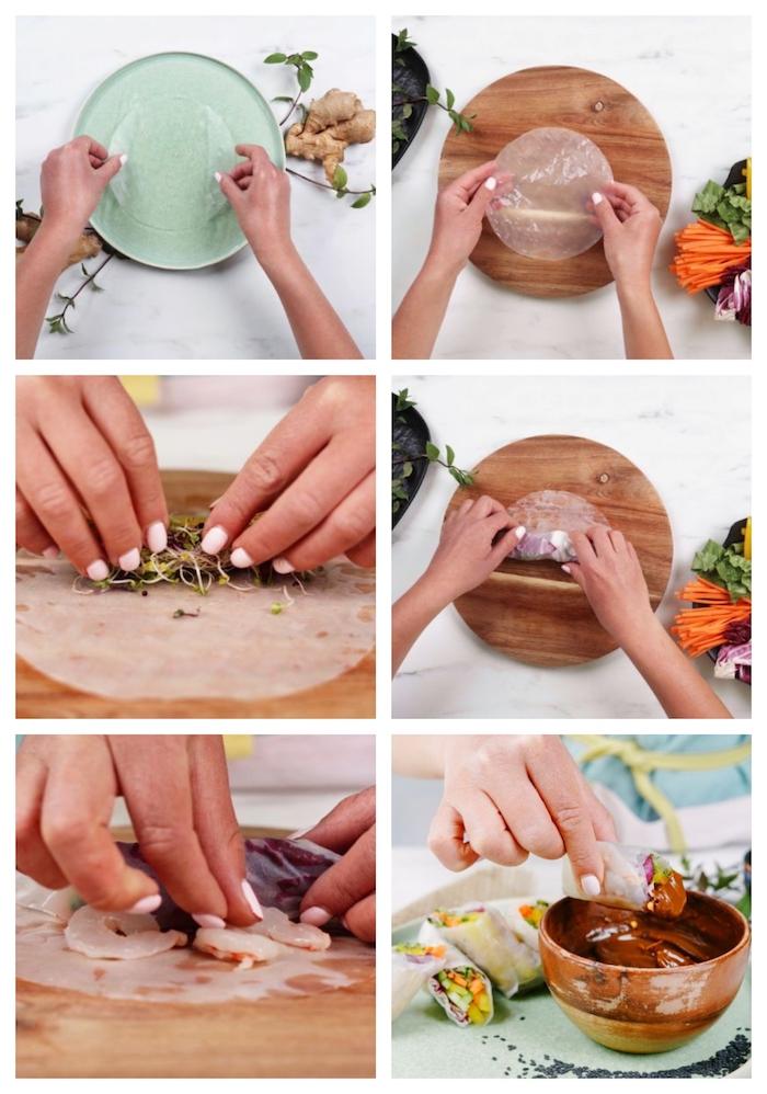 amuse bouche rapide pour apero, recette rouleau de printemps avec pousses, carottes, concomnres et sauce cacahuetes