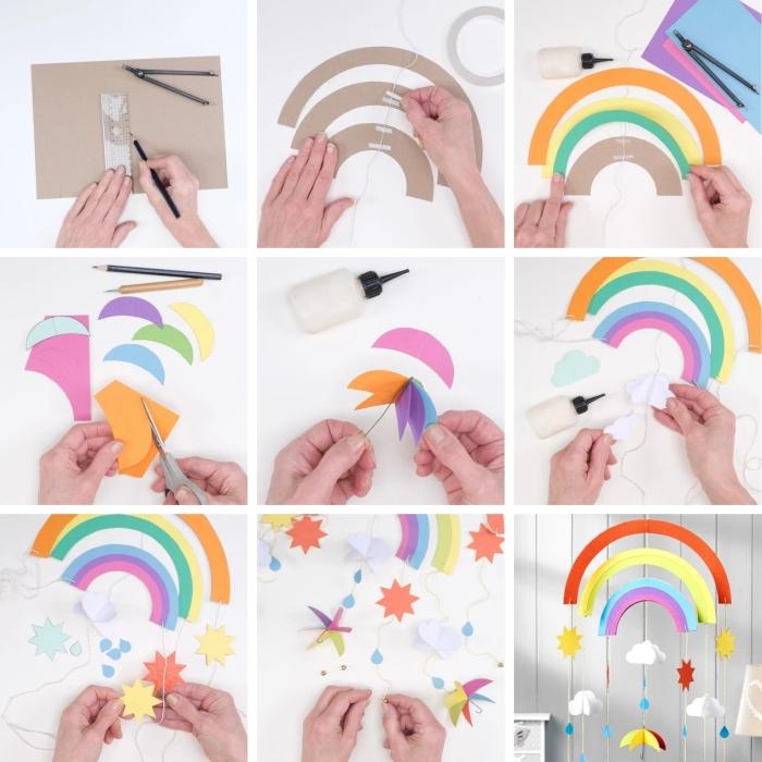 activité manuelle maternelle, comment créer un mobile bébé facile en carton et papier coloré en forme d'arc-en-ciel