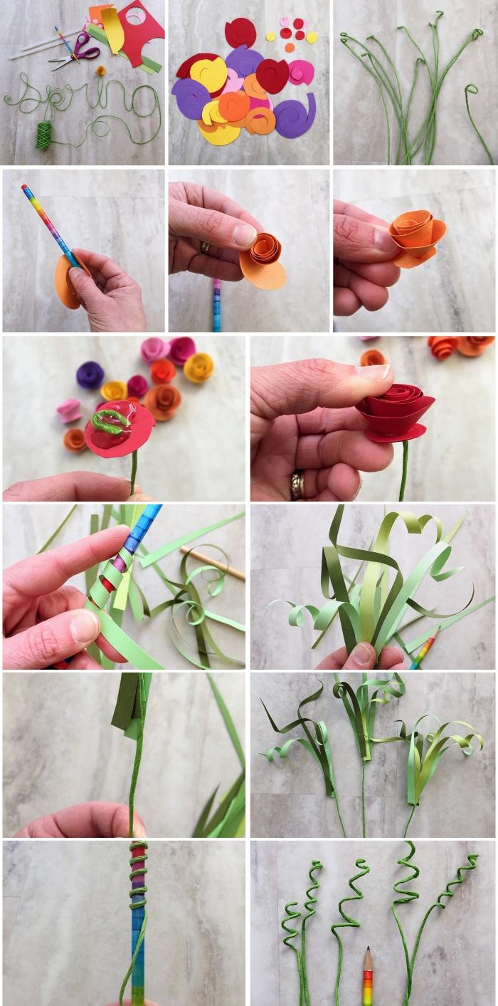 activité manuelle adulte, étapes à suivre pour réaliser un bouquet de roses en papier, diy bouquet avec fleurs en papier