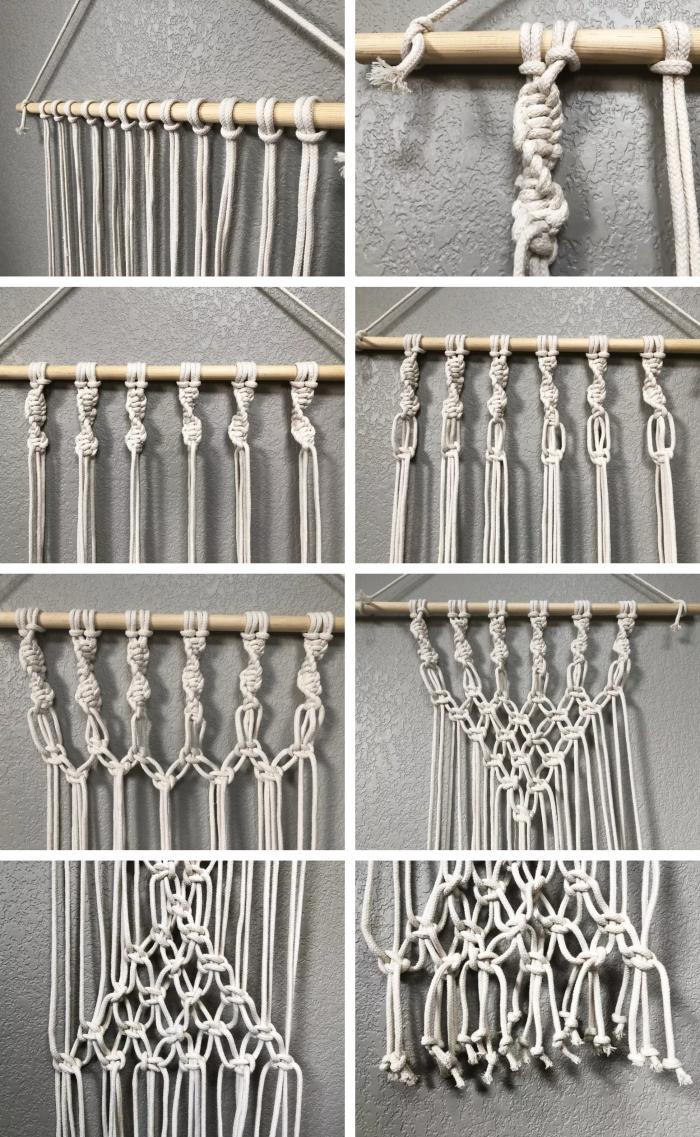 tutoriel comment fabriquer une suspension murale en corde macramé facile diy décoration murale à faire soi même de style bohème chic bâton