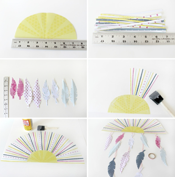 activité manuelle printemps, étapes à suivre pour faire une déco murale en forme de soleil avec rayons plumes en papier