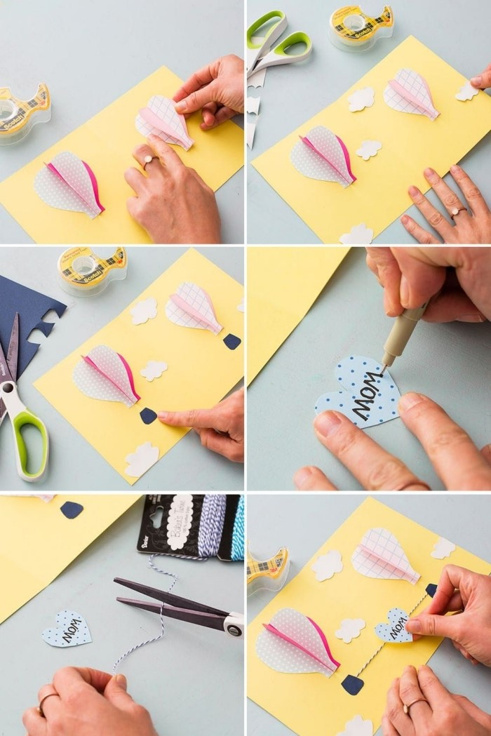 étapes à suivre pour confectionner une carte fête des mères originale, idée d'activité manuelle enfant facile et rapide avec papier