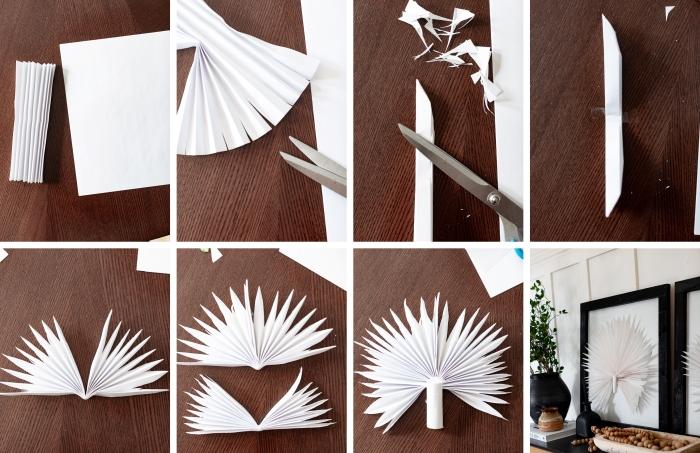 activité manuelle facile et rapide, étapes à suivre pour bricoler un cadre décoratif avec tableau en forme de paon blanc en papier