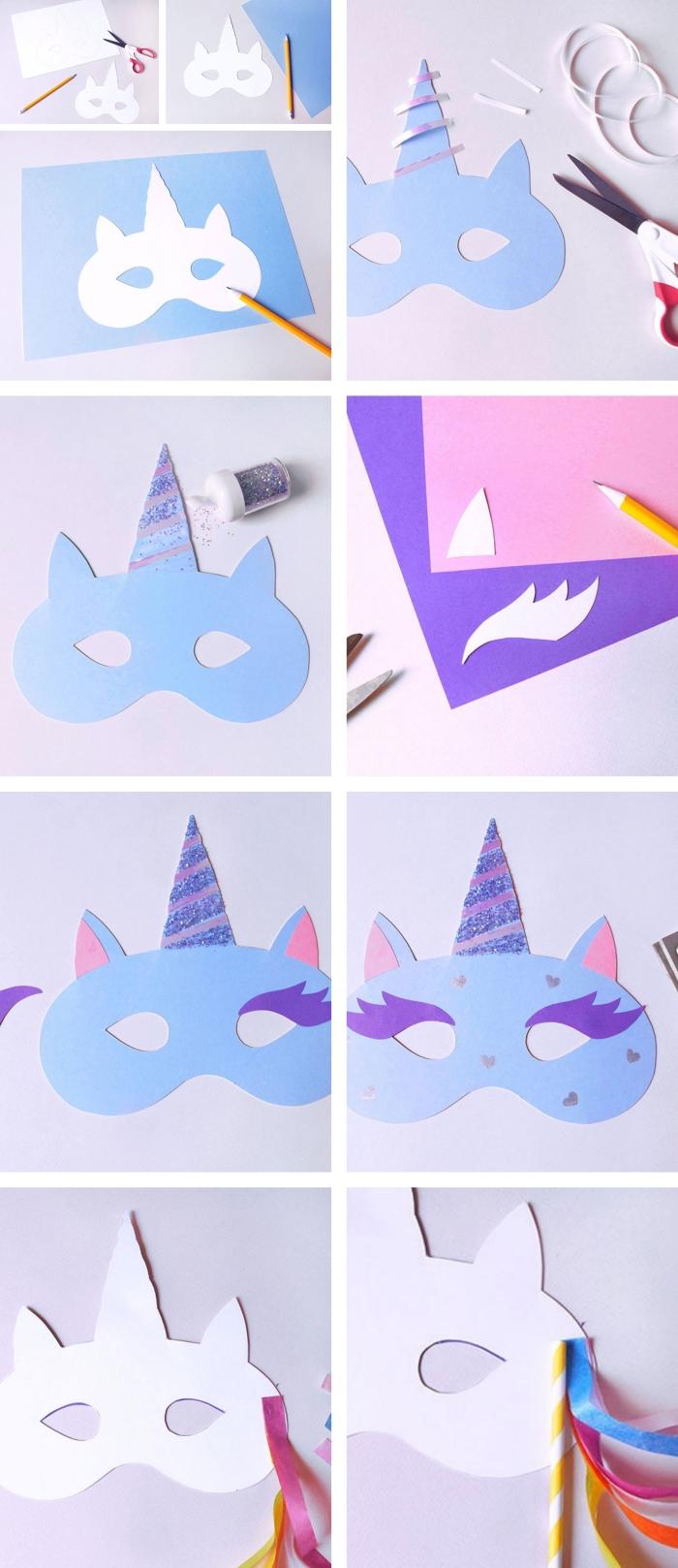 comment faire un masque de carnaval pour déguisement licorne, idée d'activité enfant 3 ans, modèle de masque visage en tête licorne
