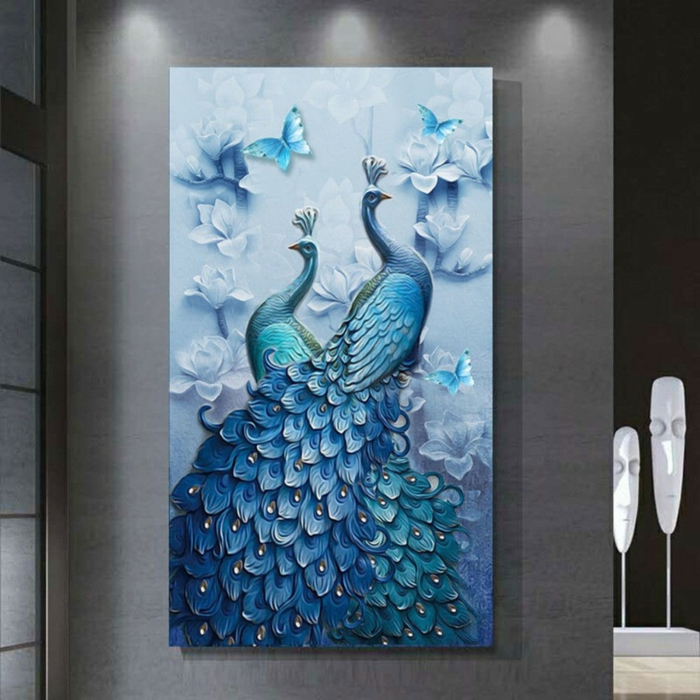 Peinture 3D animaux paons activité créative, broderie diamant personnalisé cool idée bleu peinture