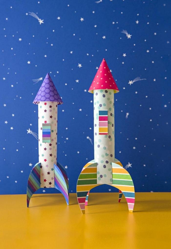 idée d'activité manuelle originale, comment faire des jouets avec peu de matériel, modèles de vaisseau spatial en papier scrapbooking