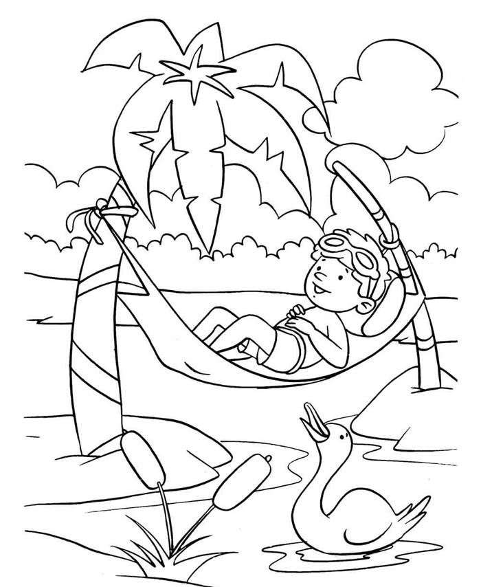 île exotique voyage repos vacances d été hamac suspendu forêt palmier nuages dessin pour garçon lu coloriage d'été