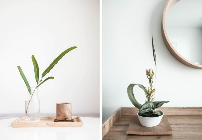 accessoires décoration japonaise objets tableau plateau bois pot de fleur plante verte tendance déco style japonais éléments