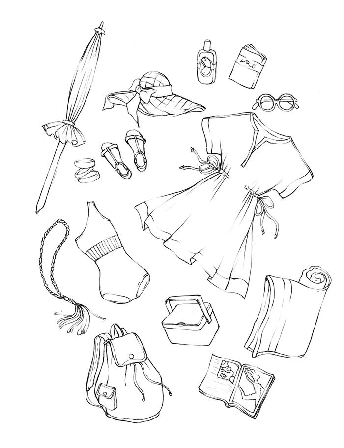 accessoires d été illustration parasol capelie sandales dessin pour fille sac à dos robe d été lunettes de soleil maillot bijoux