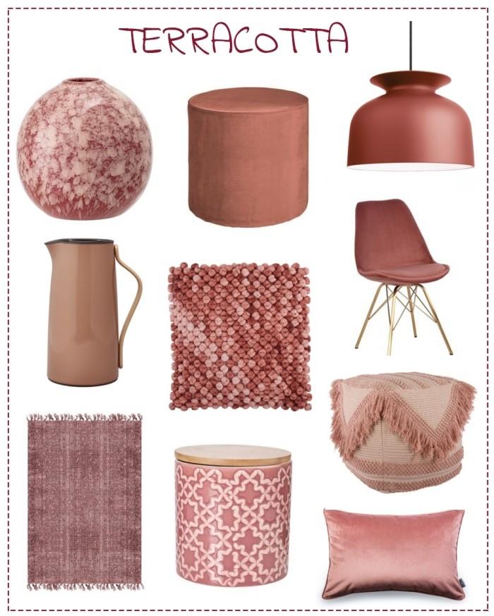 accessoires design intérieur tendance deco terracotta objets tapis franges lampe suspendue pouf avec rangement coussin velours chaise